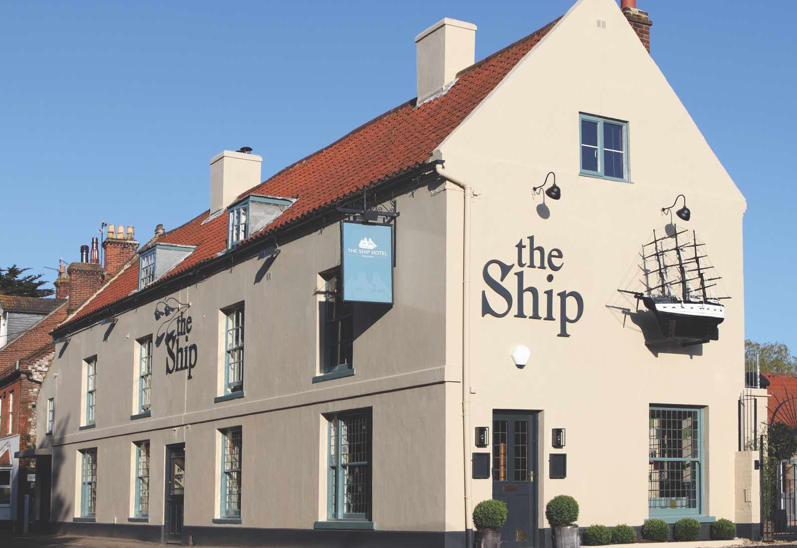 Exterior shot of the Ship Hotel, Brancaster